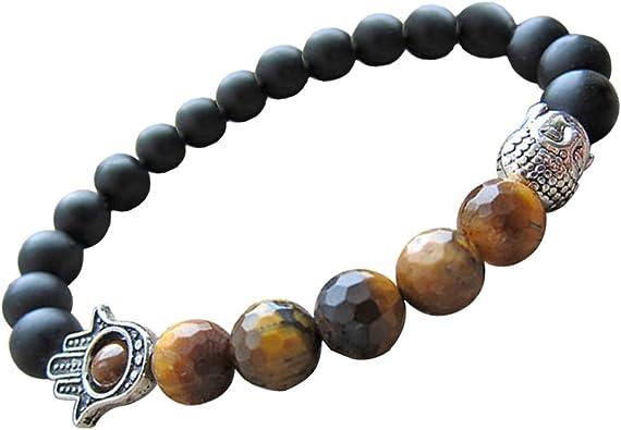 Matt Onyx /& Tiger/'s Eye Stone Mala with Palm Charm