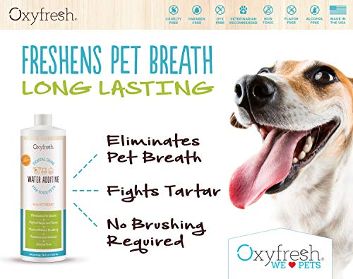 Oxyfresh Premium Pet Dental Care Solution (16oz): Best Way To Eliminate Bad Dog Breath & Cat Breath - Fights Tartar, Plaque & Gum Disease! - So easy, just add to water! Vet Recommended! by Oxyfresh (Image #2)