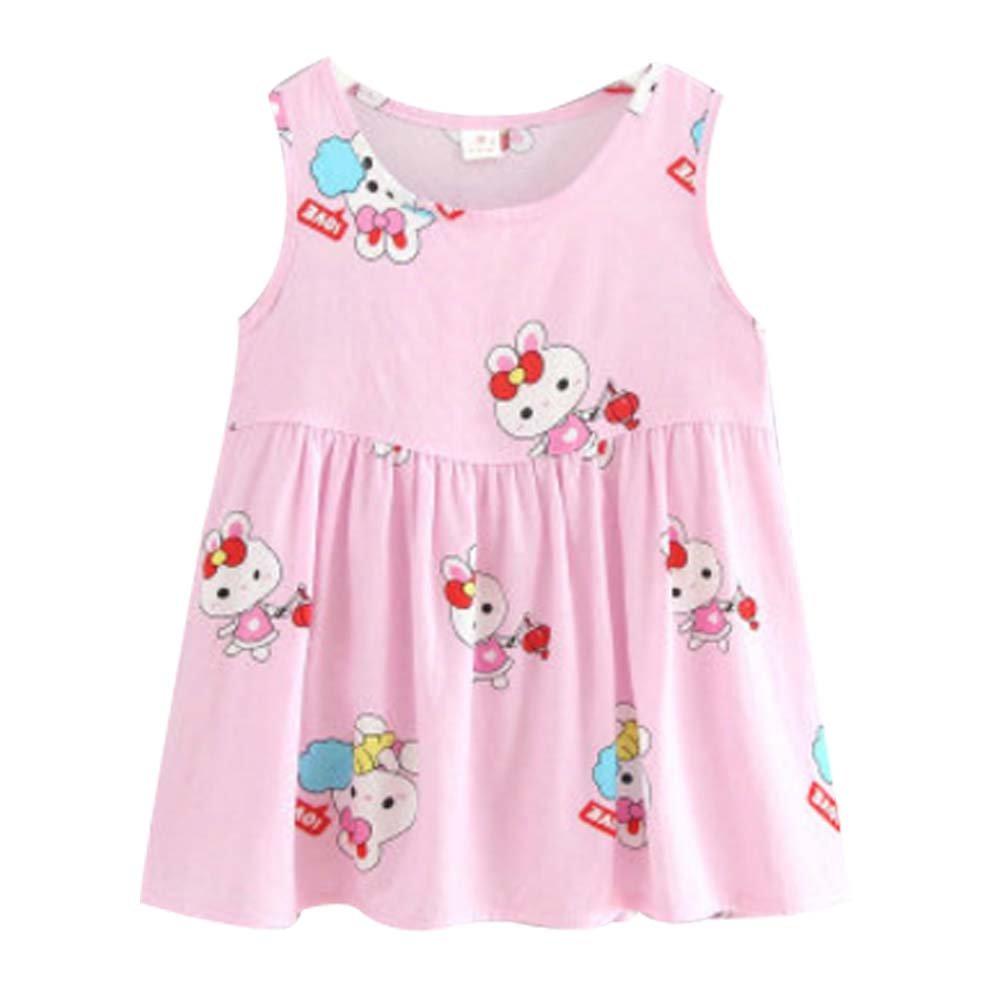 Koala Superstore Sleeveless Cotton Dress Vest Skirt for Girls Home Nightdress Kids' Pajama [E]