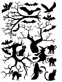 Halloween Window Cling set of Cats, Bats and Trees 8x11.5 Sheet Black