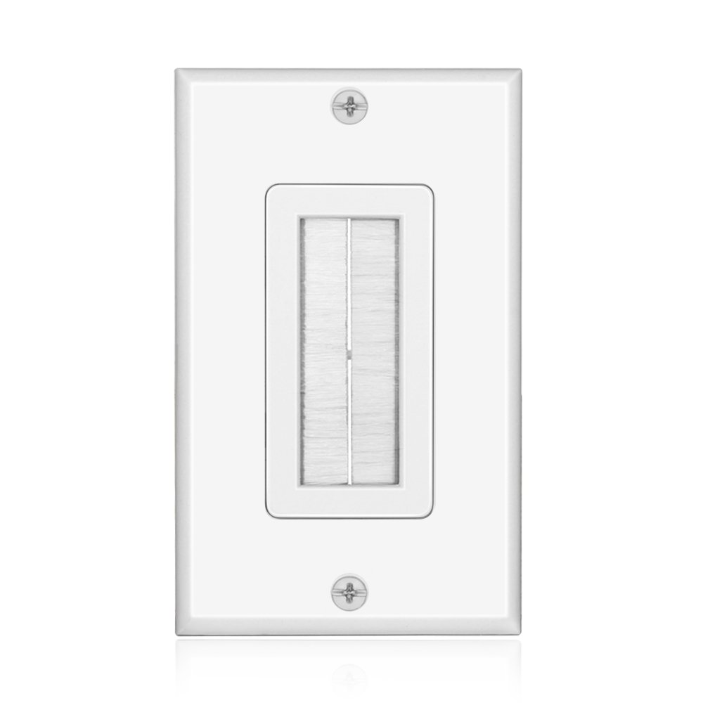 TNP Brush Wall Plate - Single Gang Cable Entry Access Brush Bristles Style Strap Opening Port Insert Socket Wiring Plug Jack Decorative Face Cover Outlet Mount Panel (White) TNP Products WP_BRS_WHT