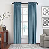 Veratex Contemporary Luxury 100% Cotton Velvet Made in the USA Any Room Rod Pocket Fastener Window Panel, 84-Inch, Blue Smoke