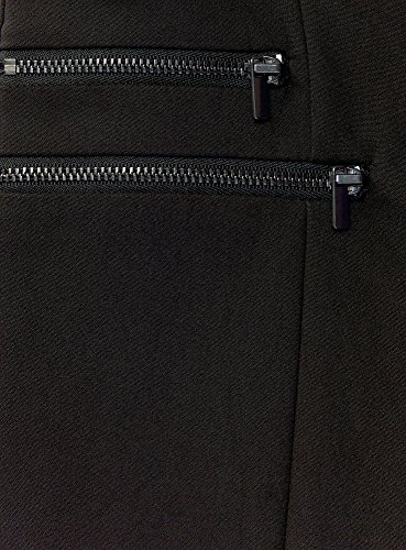 oodji Ultra Mujer Pantalones Ajustados con Cremalleras Decorativas Negro (2900N)