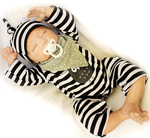 20 inches Realistic Sleeping Reborn Baby Dolls Boy Silicone Vinyl Black and White Striped Outfit