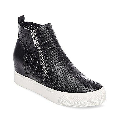 Steve Madden Women's Wedgie-P Sneaker, Black, 8 M US