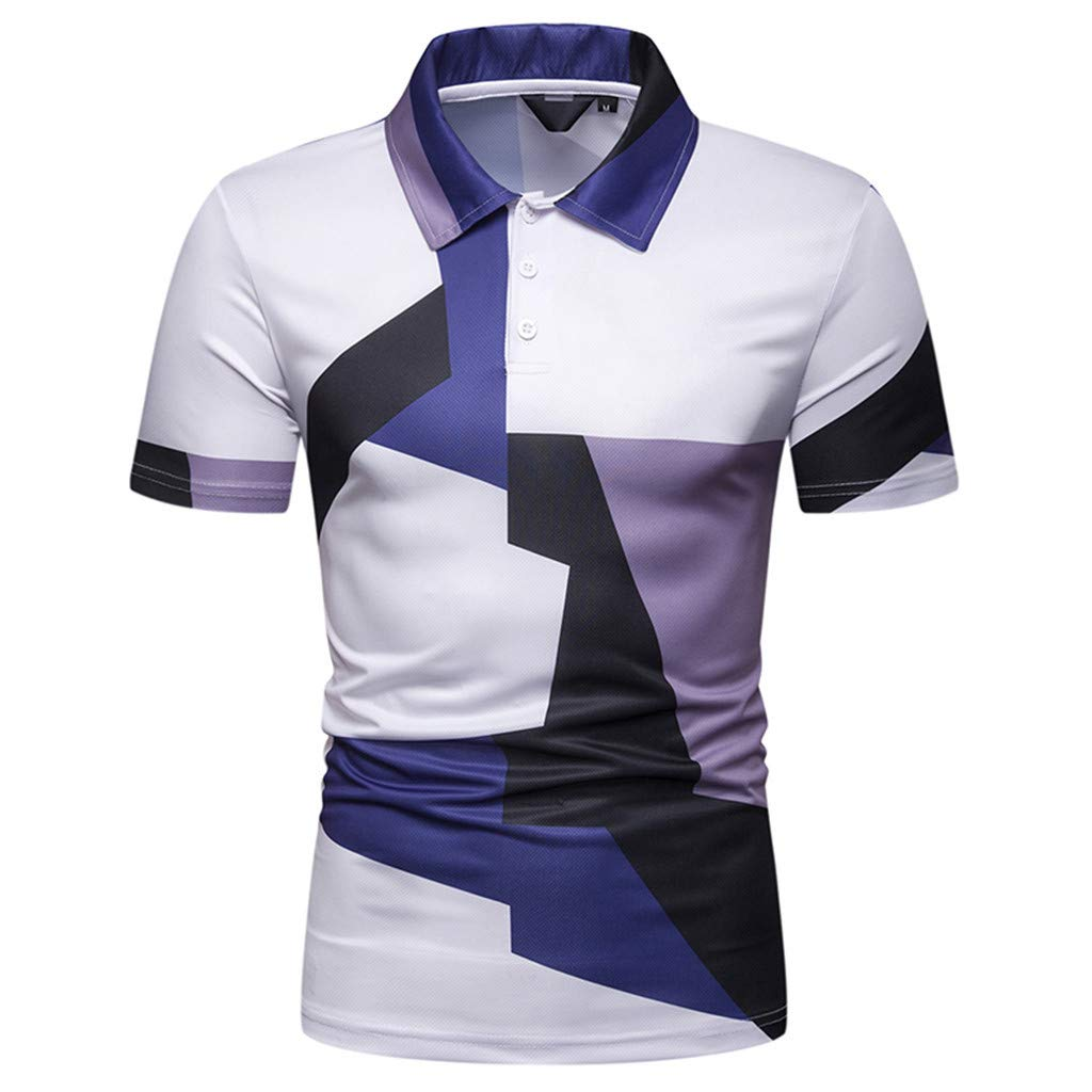 Gibobby Fashion Men's Casual Short sleeve Big and Tall Button Down Shirts Patchwork T Shirts Tops Polo Shirts