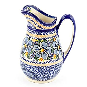 Polish Pottery, Handpainted and Handcrafted Water or Juice Jug 1.7L _ Blue Flowers Artistic Pattern (A506)