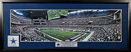 "Dallas Cowboys ""First Game @ AT&T Stadium"" Panoramic w/ Patch (Deluxe) Framed"