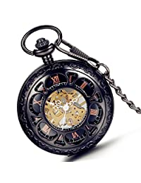 Lancardo Carving Pattern Skeleton Dial Case Fob Pocket Watch With Chain Transparent Back Cover (Black )