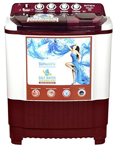 Intex WMSA80CR Semi-automatic Top-loading Washing Machine (8 Kg, White and Cherry Red)