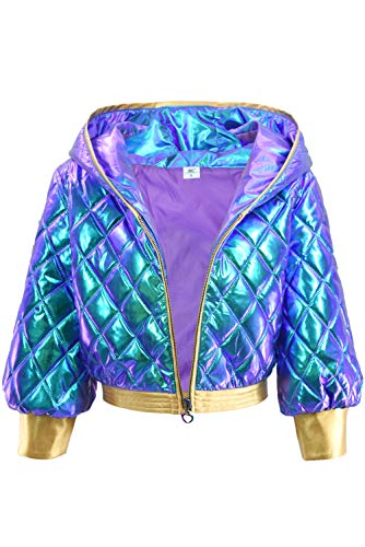 DAZCOS KDA Akali Cosplay Jacket Sparkle High Waisted Casual Jackets for Women US 0-18 (XS (0-2), Blue - High Sequin Waisted