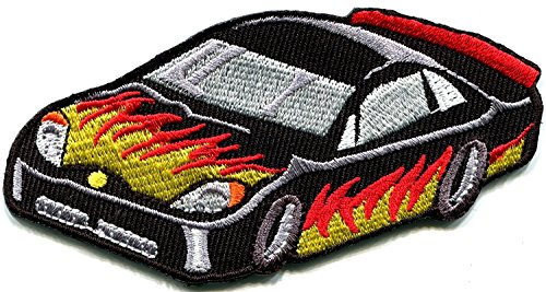 2 inches x 4 inches Sports car racing race exotic sexy supercar retro embroidered applique iron-on patch