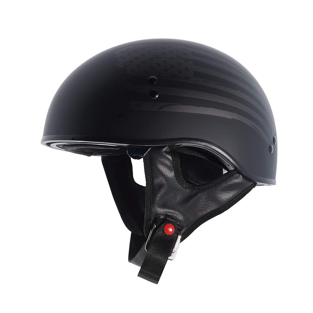 TORC T55 Spec-Op Half Helmet with 'Flag'' Graphic (Flat Black, X-Small)