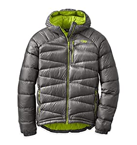 Outdoor Research Men's Incandescent Down Hoody, Pewter/Lemongrass, M
