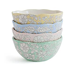 Dorotea Hand Painted Small Fruit Bowl, 5.25-Inch, Set of 4, Assorted