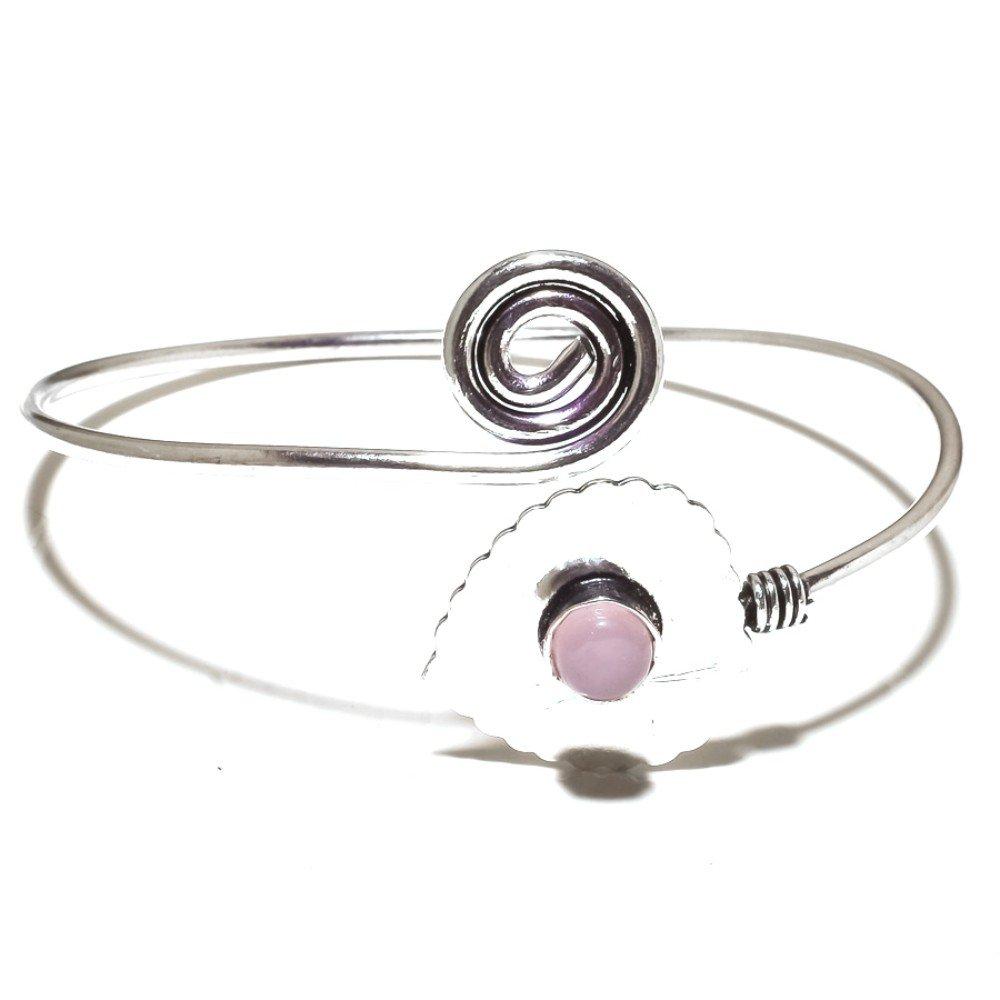 Pink Rose Quartz Sterling Silver Overlay 13 GramsBangle//Bracelet Free Size Pretty