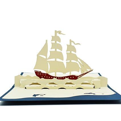 amazon com magic ants 3d sailboat model navigation pop up cards