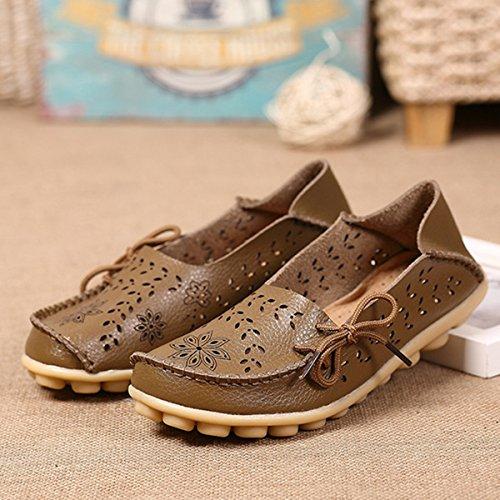 sandales chaussures femmes de pour été femmes de découpage cuir chaussures chaussures découper évider plates de conduite escarpins en bateau travail chaussures décontractées enfiler chaussures mocassins gracosy danse qOTxgtnE