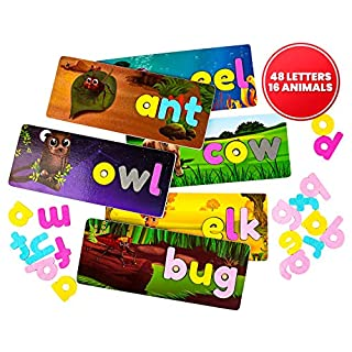 A2PLAY Wooden Alphabet Puzzles, 16 Animals – Vocabulary, Spelling, and Word Recognition Matching Letter Game with Color-Coded Vowels, Consonants – Educational Gifts for Children Ages 4-8