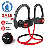 Moffo Wireless Headphones Sport HD Stereo in Ear Earbuds IPX7 Sweatproof Waterproof Headset with Built-in Mic for Gym Running Workout 8 Hours Battery (Red&Black)