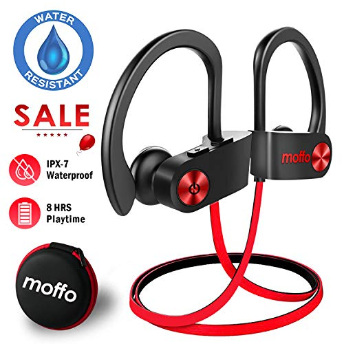 Moffo Wireless Headphones Sport HD Stereo in Ear Earbuds IPX7 Sweatproof Waterproof Headset with Built-inMic for Gym Running Workout 8 Hours Battery ()