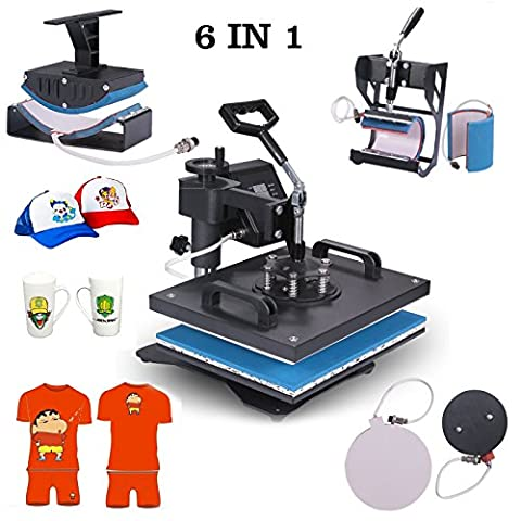 Superland Power Heat Press 6 in 1 Industrial-Quality 12-by-15-Inch Multifunctional Sublimation T-Shirt Hat Mug Heat Press Machine (6 in 1: 12