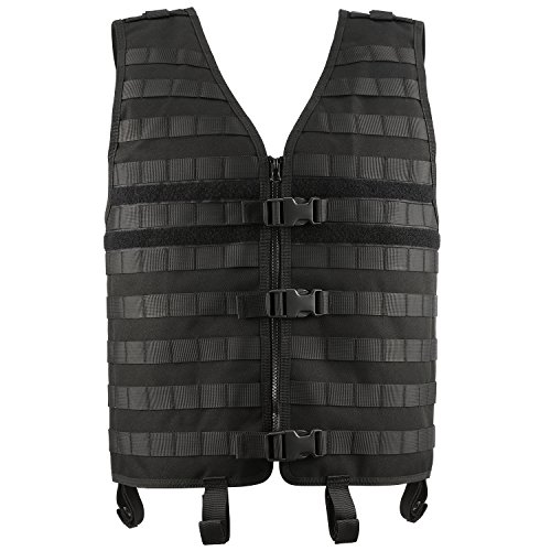 Modular Vest Adjustable Length 20-23 inch, Width 18-25 inch, Barbarians Tactical Molle Vest Black
