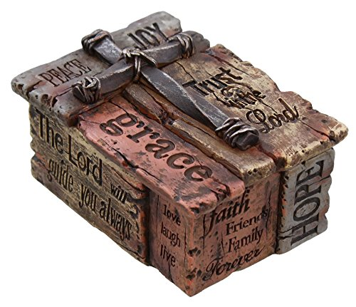 Inspirational Cross (Rustic Trinket / Jewelry Box with Inspirational Sayings, Realistic Faux Wood & Iron Cross)