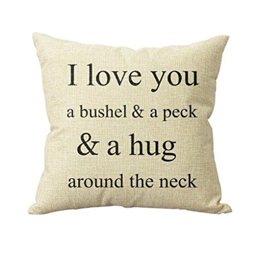 Software : Clearance! Napoo I Love You A Bushel And A Peck Letter Print Sofa Bed Home Decor Pillow Case Cushion Cover