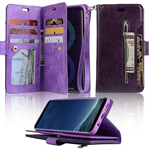 for Samsung Galaxy A6 2018 Wallet Case LAPOPNUT Luxury PU Leather Flip Case Dual Folio Card Slot Sleeve Housing with Wrist Strap Magnetic Stand Case Cover for Samsung Galaxy A6 2018 Purple