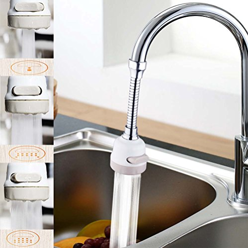 Water Faucet Spray, ixaer Water Saving Splash Head 3 Modes in One Button Elongated Extension Kitchen Household Tap Water Sprinkler 360° Rotary Filter Adjustable Long Nozzle Convenient for Bathroom Eas