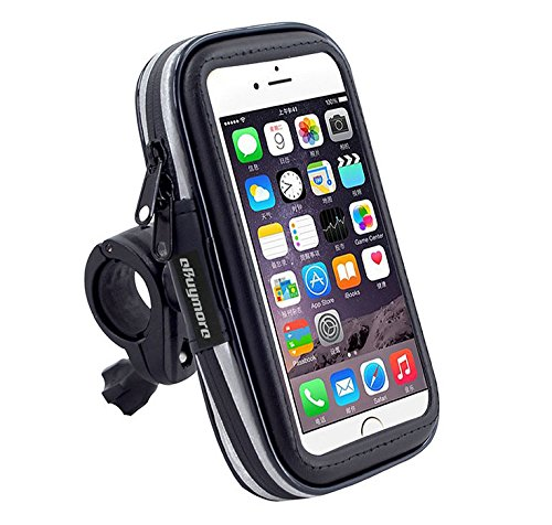 Black Touch Screen Bike Mount Waterproof Phone GPS Case Bike Bicycle Handlebar Holder Bag for iPhone 8 Plus / iPhone X / Samsung Galaxy Note 8 / S8 Plus / S8 Active / J7 Pro / HTC U11 / HTC U Ultra ()