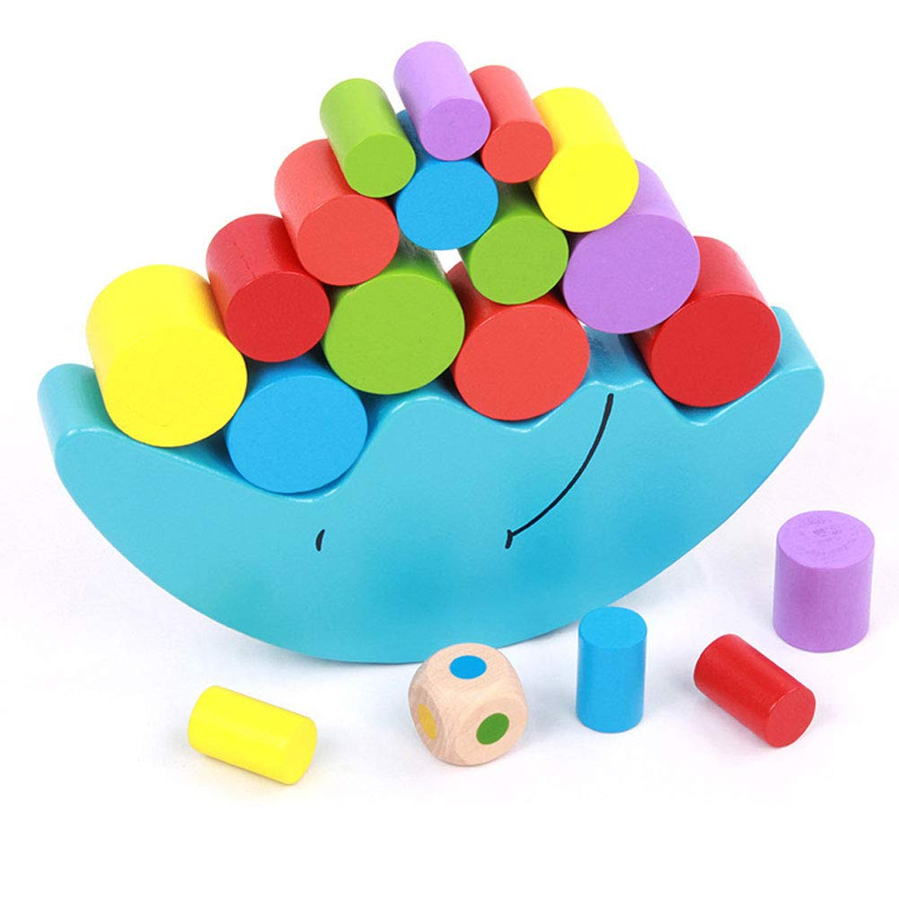 Romote 1PC Holz Gleichgewicht Mond Spielzeug Mond Balancing-Rahmen-Baby Early Learning Baustein-Spielzeug