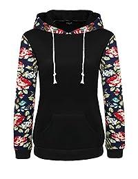 ACEVOG Women's Floral Printed Long Sleeve Hooded Pullover Hoodies Sweatshirt