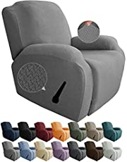 JIVINER Newest Design 4-Piece Recliner Chair Covers Stretch Jacquard Covers for Recliner Chair Recliner Slipcovers for Living Room Soft Recliner Protector with Pocket (Recliner, Light Gray)