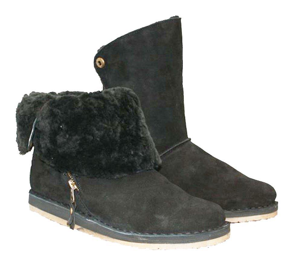 RJ's Fuzzies Women's Trixie Sheepskin Boot (6, Black)
