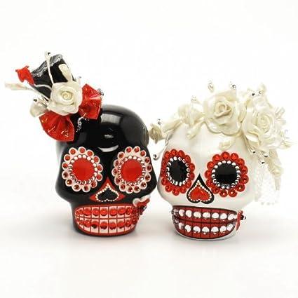 Amazon.com: El Dia de los Muertos Skull Wedding Cake Topper A00124 ...