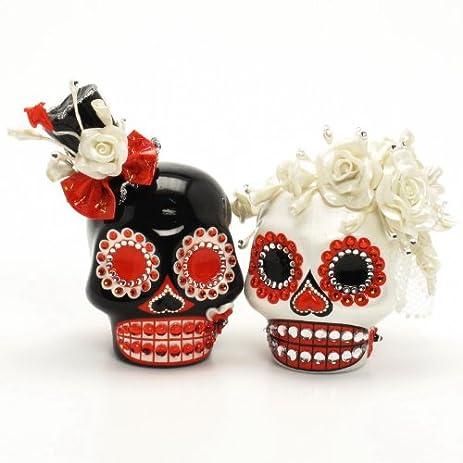El Dia De Los Muertos Skull Wedding Cake Topper A00124 Day Of The Dead Theme