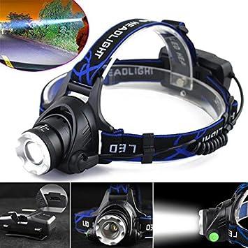 Nero 12000LM XM-L T6/ricaricabile micro 568d-usb 3/interruttore modalit/à di ricarica LED faro torcia pesca notturna