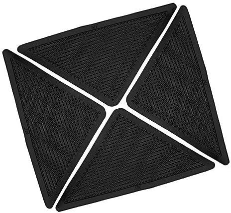 Queenwind 8pcs 三角アンチスキッド PU カーペットグリッパ洗える矛盾滑り止めキッチンバスルームラグパッドマット