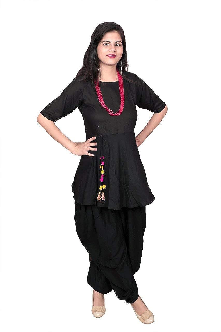 56ba7d7510 Libas Closet Women's Rayon Dhoti Kurti/Salwar Kurta with Pom Pom Attached:  Amazon.in: Clothing & Accessories
