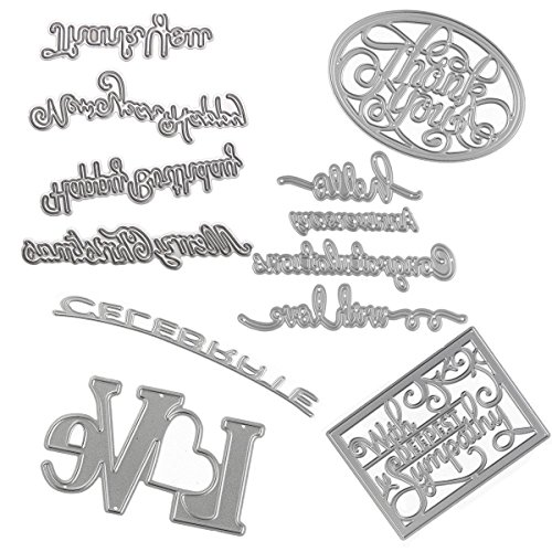 Die Embossing Cuts (Dies Cut Embossing Cutting Die Embossing Words Hello Love Happy Thank You Congratulations for DIY Scrapbooking Photo Album Decorative Metal Stencils DIY Paper Cards Making (Set 10))