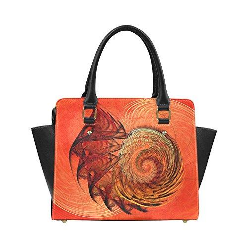 Nautilus Shell Top - Interestprint Custom Nautilus Shell Abstract Fractal Classic Women Top Handbag Shoulder Bag