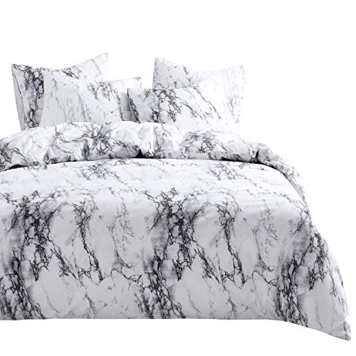 Wake In Cloud – Marble Comforter Set, 4 Pillow Cases, Gray Grey Black and White Pattern Printed, Soft Microfiber Bedding (King Size)