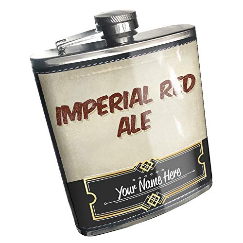 Neonblond Flask Imperial Red Ale Beer, Vintage style Custom Name Stainless Steel