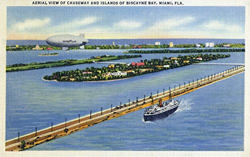 Miami, Florida - Goodyear Blimp over Biscayne Bay Islands (12x18 SIGNED Print Master Art Print w/ Certificate of Authenticity - Wall Decor Travel Poster) - Biscayne Wall Lantern