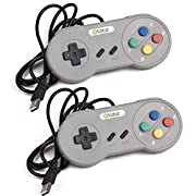 Amazon Lightning Deal 93% claimed: kiwitatá Classic Retro Super Nintendo SNES USB Controller Jopypads for Win PC/MAC Gamepads (Grey/Mulit Color Keys 2 Pack)