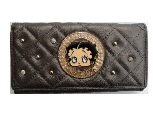 Betty Boop Long Wallet - Trifold Checkbook Wallet - KFW905 - Bronze Color