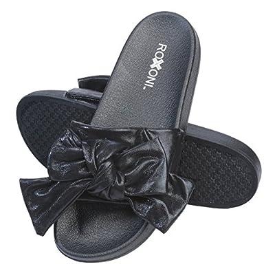 Roxoni Womens Bow Tie Sandal Open Toe Summer Slide Slipper -Great for Indoor/Outdoor