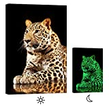 LightFairy Glow in the Dark Canvas Painting - Stretched and Framed Giclee Wall Art Print - Animals Nature Portrait Of A Cheetah - Master Bedroom Living Room Decor - 6 Hours Glow - 32 x 46 inch